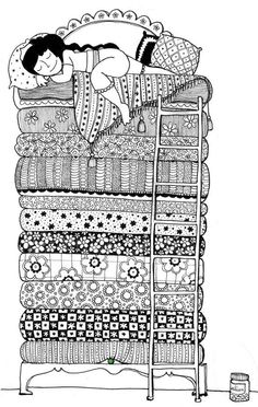 A zentangle of one of my favorite fairy tales! Doodle Art Drawing, Zentangle Drawings, Doodles Zentangles, Zen Doodle, Zentangle Patterns, Doodle Paint, Buch Design, Princess And The Pea, Princess Peach