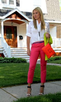 White button down with hot pink pants