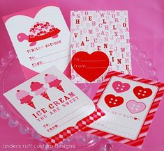 Four different free printable valentines day cards