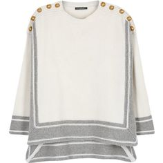 Alexander McQueen Two-tone buttoned cashmere jumper ($1,050) ❤ liked on Polyvore featuring tops, sweaters, wool cashmere sweater, white cashmere sweater, alexander mcqueen sweater, drop shoulder tops and white top