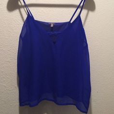 Cobalt blue, lined, sheered, spaghetti top. Blue top. Charlotte Russe Tops Blouses