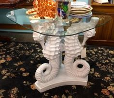 """White Seahorse Foyer Table   Dealer #1017   35.5"""" Square Glass Top x 31.5"""" High   $395  Lucas Street Antiques Mall 2023 Lucas Dr.  Dallas, TX 75219  Located close to Dallas' Design Distric"""