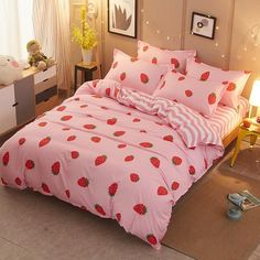Home Textile Strawberry pink girl Bed Linens cute bedding set duvet cover Quilt cover comfortable bed sheets Princess style Bedding Sets Online, Luxury Bedding Sets, Cute Bedding, Linen Bedding, Bed Linens, Bed Sets, Bed Sheet Sets, Girls Pink Bedding, Beige Bed Linen