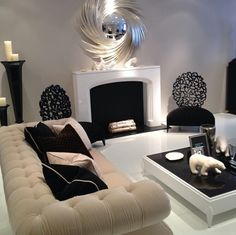 Black and white living room.
