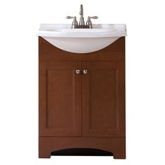 Russet Integral Single Sink Bathroom Vanity with Cultured Marble Top (Common: 24-in x 19-in; Actual: 25-in x 18.6-in)