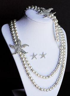 Bridal Pearl Rhinestone Necklace Bracelet Earring Crystal STARFISH White Or Ivory Beach Wedding Jewelry Set ST003LX