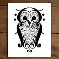Owl Music Art Print   erinheaton.com #musicart #musicnotes #musicgifts