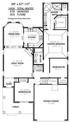 1600 sf 3 bedroom Modern Open Floor Plans | 1600 square feet, 3 ...