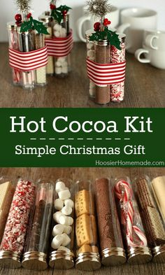 It happens more often than I'd like to admit, but when headed to a holiday party or get together, I often realize I don't have anything for the host/hostess. Make a few of these go-to kits at the beginning of the season and avoid that last minute panic this year. You can use individual canisters like they've done here, or use one jar and stack the items on top of each other. You can do this with ingredients for cookies, too.