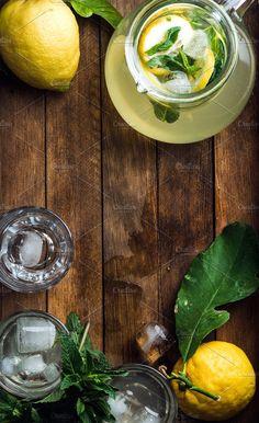 Jug with homemade lemonade by Foxys on @creativemarket