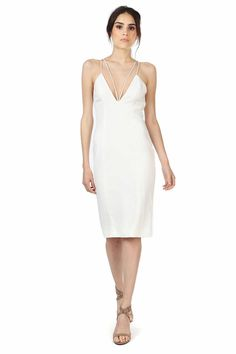 """ALEXANDER IVORY DRESS  was $310 now $93  DEEP V NECK MIDI DRESS IN OUR SIGNATURE CREPE FABRIC. DOUBLE SPAGHETTI STRAP DETAIL IN FRONT AND BACK ALONG WITH LOW, OPEN BACK AND HIDDEN ZIPPER. SEXY DESIGN WITH STRAPS THAT HIGHLIGHT BOTH FRONT AND BACK.   SHOULDER TO HEM MEASUREMENT 41"""" 98% POLYESTER 2% SPANDEX DRY CLEAN ONLY"""