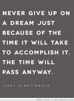 Never give up on a dream just because of the time it will take to accomplish it. The time will pass away.