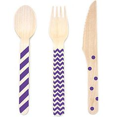 Purple Stamped Wooden Cutlery