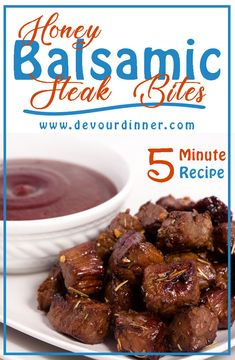 Fun twist on a steak, steak bites are rich full of flavor you will come to love. Honey Balsamic Steak Bites are quick and easy to make, full of rich flavor you will love. Fish Recipes, Beef Recipes, Appetizer Recipes, Cooking Recipes, Appetizers, Quick Dinner Recipes, Great Recipes, Favorite Recipes, Yummy Recipes