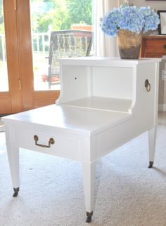 Painted Vintage Table/ For Nightstand, Drill Small Holes In The Back To Run  Phone · Refurbished FurnitureFurniture ...