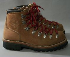 """Dexter """"waffle stompers"""" (the Vibram sole left a waffle-like print in the snow) Dexter, Men's Leather, Leather Shoes, Tall Boots, Shoe Boots, Botas Ski, Mens Boot, Mountaineering Boots, Outdoor Activities"""