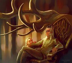 Thranduil and Legolas Artwork   art Hobbit legolas Fan-Art Thranduil the desolation of smaug