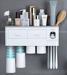 Online Shop Magnetic Adsorption Toothbrush Holder Automatic Toothpaste Dispenser With Cups Wall Mount Storage Rack Bathroom Accessories Set Toothbrush Storage, Toothbrush Holder, Toothbrush Sanitizer, Bathroom Storage Units, Bathroom Organization, Toothpaste Squeezer, Wall Mount Rack, Bathroom Colors, Bathroom Wall