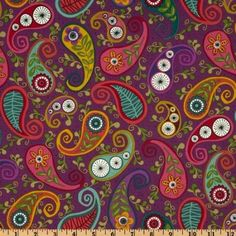 44'' Wide Garden Strings Paisley Purple Fabric By The Yard