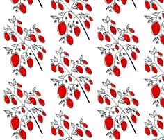 Strawberries fabric by Anda on Spoonflower