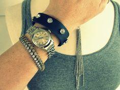 WobiSobi: Leather and Rhinestone Bracelet, DIY.