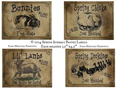 Primitive Labels, Spring Animals, Decoupage Printables, Mixed Media Journal, Bunny Art, Pantry Labels, Graphics Fairy, Muslin Fabric, Nature Crafts