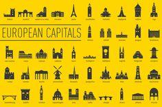 DOWNLOAD FREE this week!  European Capital Landmarks by bhj on Creative Market