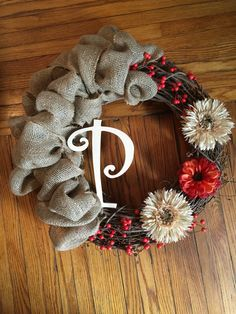 Grapevine wreath with initial Sold on etsy