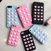 Coreia do mais novo 3d candy cor do amor do coração de rosa telefone case jelly macio silicone para iphone 7 plus 6 6 s 6 plus capa fundas(China (Mainland))