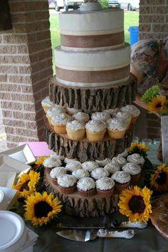 log food stand | log cupcake stand