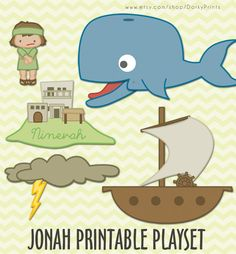 Jonah and the Whale Printable PDF - bible printables - scripture printable - Instant Download. $3.99, via Etsy.