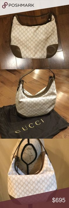 """AUTHENTIC GUCCI NWT HOBO BAG AUTHENTIC GUCCI GG SUPREME CANVAS HOBO. NWT. OFF WHITE/BEIGE GG. LIGHT FINE GOLD HARDWARE. TOP HANDLE 4.7"""" DROP. SMALL SPUR DETAILS WITH EQUESTRIAN INSPIRED NUMBERED HOLES. INTERIOR ZIP AND PHONE POCKETS. MEDIUM. MEASURES 12.5"""" W x 10"""" H   DATE CODE SEEN ON TAG. COMES WITH DUST BAG. GREAT SHAPE AND STYLE. LOVE THE COLOR Gucci Bags Hobos"""
