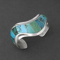 Cuff   Ophelia Garcia (Navajo). Sterling Silver, Inlaid Turquoise