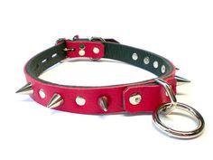 3/4 Red Vegan Leather BDSM Collar Small Bondage Ring by VonBondage