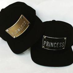 FLAWLEES PRINCESS metal plate snapback hats gold by rojasclothing