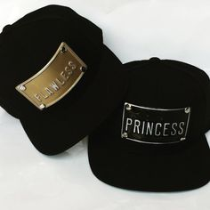 FLAWLEES PRINCESS metal plate snapback hats gold by rojasclothing