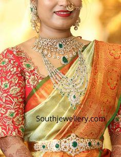 18 carat gold diamond emerald choker paired with matching jhumkas, diamond emerald step haram and diamond emerald vaddanam. Kerala Saree Blouse Designs, Wedding Saree Blouse Designs, Fancy Blouse Designs, Wedding Sarees, Hand Work Blouse Design, Stylish Blouse Design, Diamond Jewellery, Bridal Jewellery, Gold Jewelry
