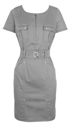 Karen Millen Military Shirt Dress - love thisLove these details- pockets, zippers, rivets!jewel neck-line, patch pockets at chest Chic Outfits, Dress Outfits, Fashion Dresses, Safari Dress, Karen Millen, Classy Women, Vogue, Bodycon Dress, Dresses For Work