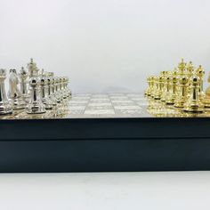 Large Chess Set Metal Classical Chess Set Historical | Etsy Chess Set Unique, Pearl Design, Great Gifts, Pearls, Storage, Box, Metal, Handmade, Decor
