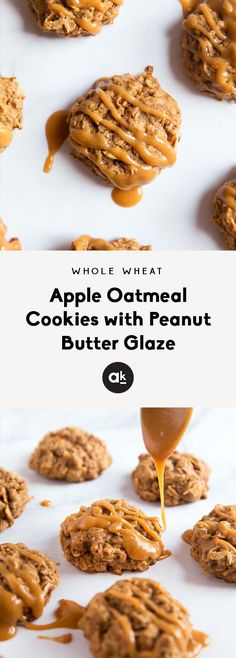 Healthier Cinnamon Apple Oatmeal Cookies topped with an easy, creamy peanut butter glaze. They have a hearty texture and unique flavors. You won't be able to stop at just one! #cookierecipes #fallbaking Apple Oatmeal, Peanut Butter Oatmeal, Creamy Peanut Butter, Peanut Butter Cookies, Healthy Cookies, Healthy Dessert Recipes, Cookie Recipes, Recipes Dinner, Brunch Recipes