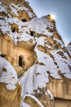 Snow in Göreme, Cappadocia, Turkey - I WOULD LOVE TO STAY IN ONE OF THE HOTEL CAVES.