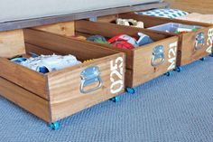 Got some empty space under a bed or couch, but don't like the look of plastic under-bed organizers? These rolling crates from Teal and Lime add an industrial touch to your living area, and are simple to make—no power tools needed. Best of all? How easy it is to access your storage, thanks to their rolling casters.