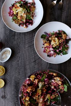 Roasted Cauliflower, Beet and Farro Winter Salad      I don't seem to have a brain for meal-prep.  I'm guilty of wandering the grocery store aisles picking up cold cereal, crackers, a really expensive bar of soap and… little else.   I'm notoriously horrible at actually making myself dinner and, as it turns out, scrambled eggs with hot sauce makeRead more