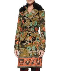 Floral-Print Trenchcoat W/Removable Fur Collar, Antique Green by Burberry Prorsum at Neiman Marcus.