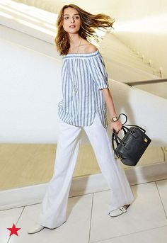 Planning a getaway this season? Take off in style and opt for an off-the-shoulder linen top paired with a white, billowy, wide-leg pant to give you the ultimate warm weather look. Visit macys.com for the head-to-toe Michael Michael Kors look and more!