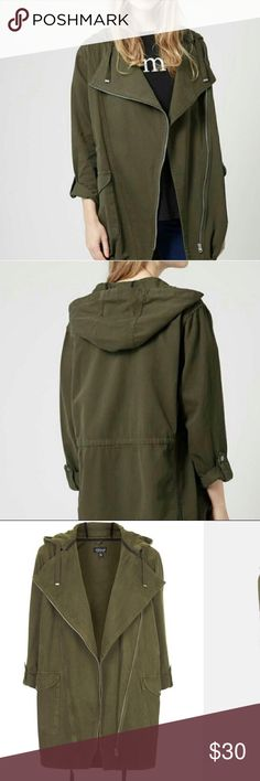 TOPSHOP Waterfall-Front Hooded Parka Jacket US 4 In Great++Condition.  Pristine 8cf9d0dd67