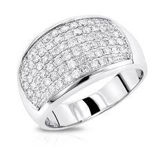 Mens Diamond Rings: 14K Gold Diamond Band by Luxurman 1.5ct