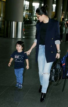 The begum of bollywood , Kareena Kapoor Khan along with paparazzo's favorite kid Taimur is Indian Celebrities, Bollywood Celebrities, Bollywood Fashion, Classy Outfits, Boy Outfits, Casual Outfits, Boy Fashion, Fashion Outfits, Kareena Kapoor Khan