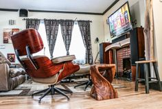 Eames lounge chair and ottoman, twist stool Walnut fireplace, plank and stool Chair And Ottoman, Eames, Plank, Stool, Lounge, Flooring, Furniture, Home Decor, Airport Lounge