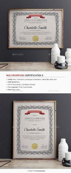 Buy Multipurpose Certificates II by punedesign on GraphicRiver. Features 4 Fully Layered PSD Files / 4 MS Word Files / DIN & US Letter Minimum: Photoshop / MS Word 2003 . Letterhead Template, Resume Design Template, Stationery Templates, Stationery Design, Certificate Layout, Certificate Templates, Best Templates, Print Templates, Certificate Of Appreciation